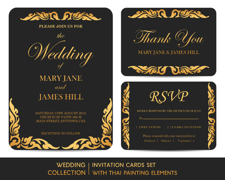 congratulations card: Wedding invitation cards set with thai painting elements