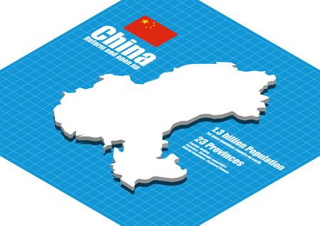 china: China map three dimensional Illustration