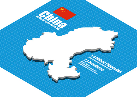 China map three dimensional Illustration