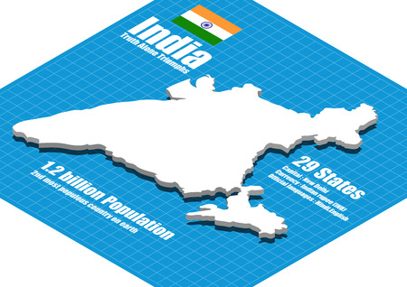 map of india: India map three dimensional Illustration