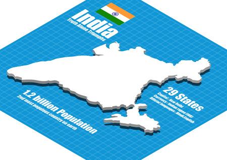 India map three dimensional Illustration