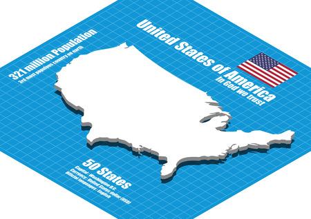 dimensional: America map three dimensional