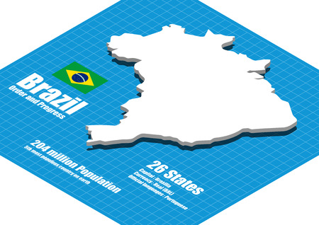 brazil country: Brazil map three dimensional Illustration