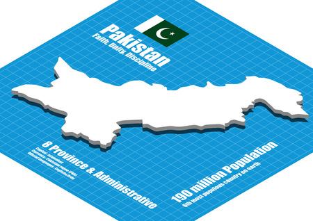 three dimensional: Pakistan map three dimensional Illustration