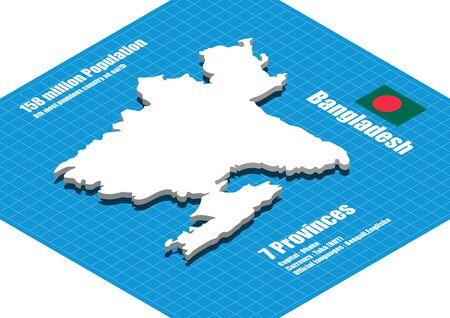 dimensional: Bangladesh map three dimensional