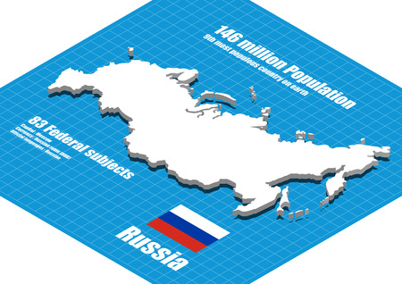 russia map: Russia map three dimensional Illustration