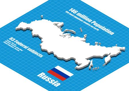 three dimensional: Russia map three dimensional Illustration