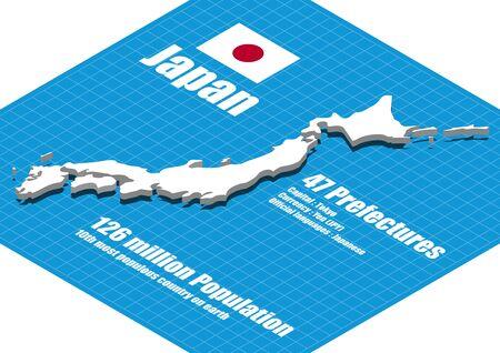 Japan map three dimensional