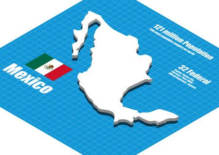 three dimensional: Mexico map three dimensional