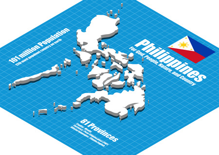 philippines  map: Philippines map vector three dimensional