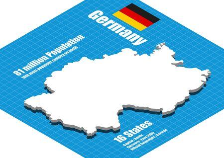 deutschland karte: Deutschland-Karte dreidimensionale Illustration