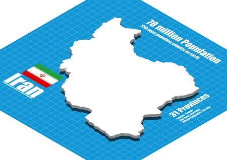 dimensional: Iran map three dimensional Illustration