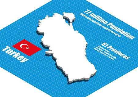 dimensional: Turkey map three dimensional Illustration