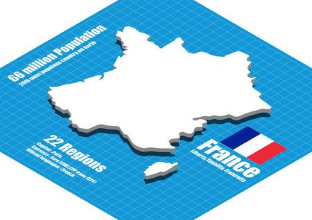three dimensional: France map vector three dimensional