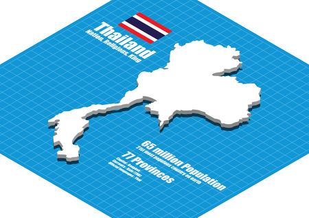 Thailand map three dimensional Stock Illustratie