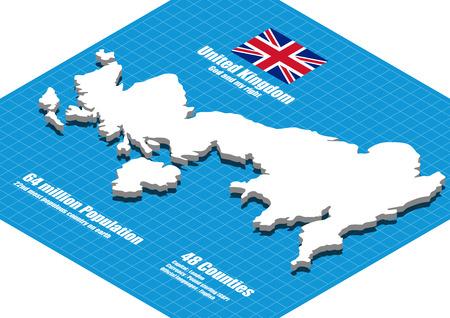 three dimensional: United Kingdom map three dimensional