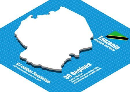 three dimensional: Tanzania map three dimensional Illustration