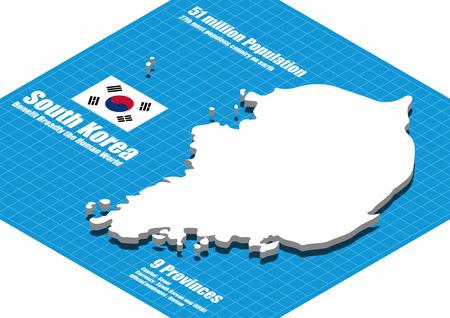 korea: South Korea map three dimensional