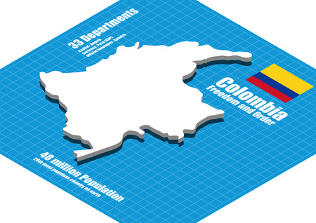Colombia map three dimensional