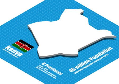 dimensional: Kenya map three dimensional
