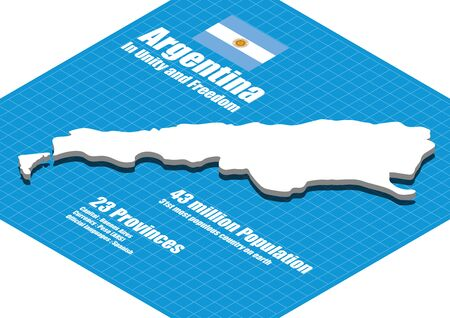 map of argentina: Argentina map three dimensional