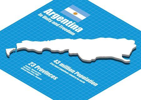 argentina map: Argentina map three dimensional