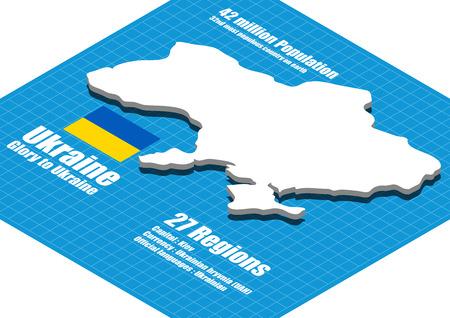Ukraine map three dimensional