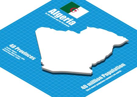 dimensional: Algeria map three dimensional