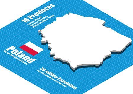 poland: Poland map three dimensional