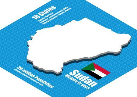 three dimensional: Sudan map three dimensional