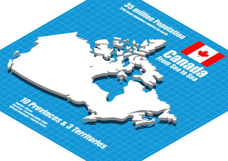 Canada map three dimensional Stock Illustratie