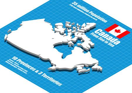 Canada map three dimensional 向量圖像