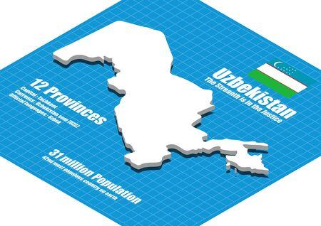 uzbekistan: Uzbekistan map three dimensional
