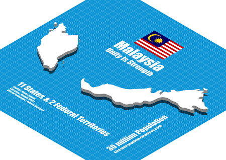 malaysia: Malaysia map three dimensional Illustration