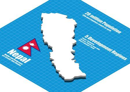 dimensional: Nepal map three dimensional
