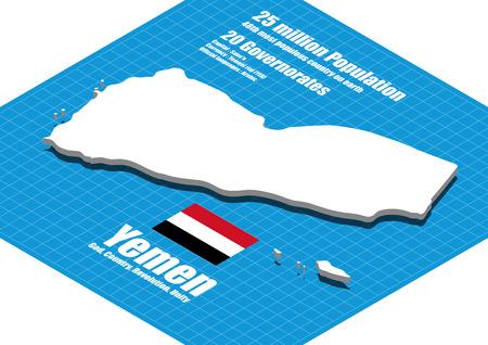 yemen: Yemen map three dimensional