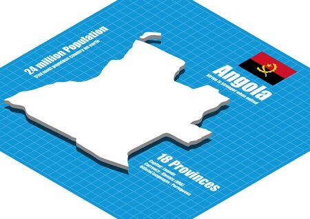 angola: Angola map three dimensional Illustration
