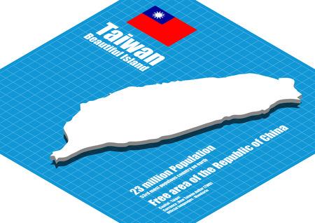 Taiwan map three dimensional Ilustracja