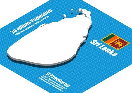 sri: Sri Lanka map three dimensional