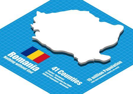 three dimensional: Romania map three dimensional