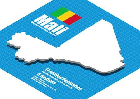 three dimensional: Mali map three dimensional