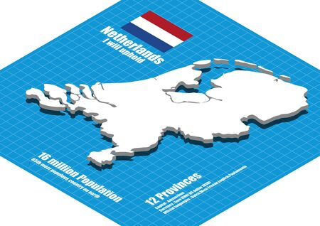 netherlands map: Netherlands map three dimensional