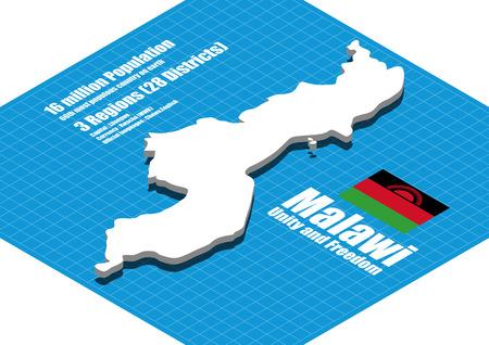 malawi: Malawi map three dimensional Illustration