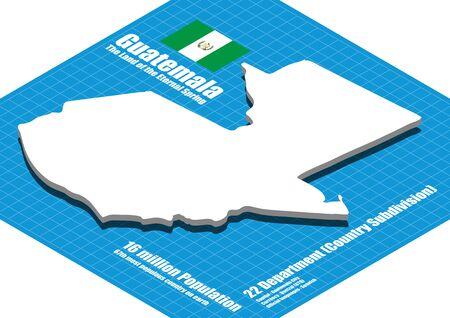 Guatemala  map vector three dimensional Stock Illustratie