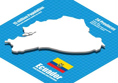 ecuador: Ecuador map three dimensional