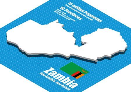 dimensional: Zambia map three dimensional