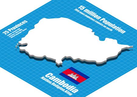 three dimensional: Cambodia map three dimensional