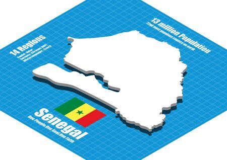 three dimensional: Senegal map three dimensional