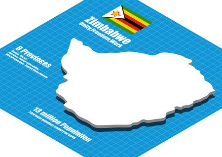 zimbabwe: mapa Zimbabwe tridimensional Vectores