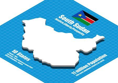 south sudan: South Sudan map three dimensional Illustration